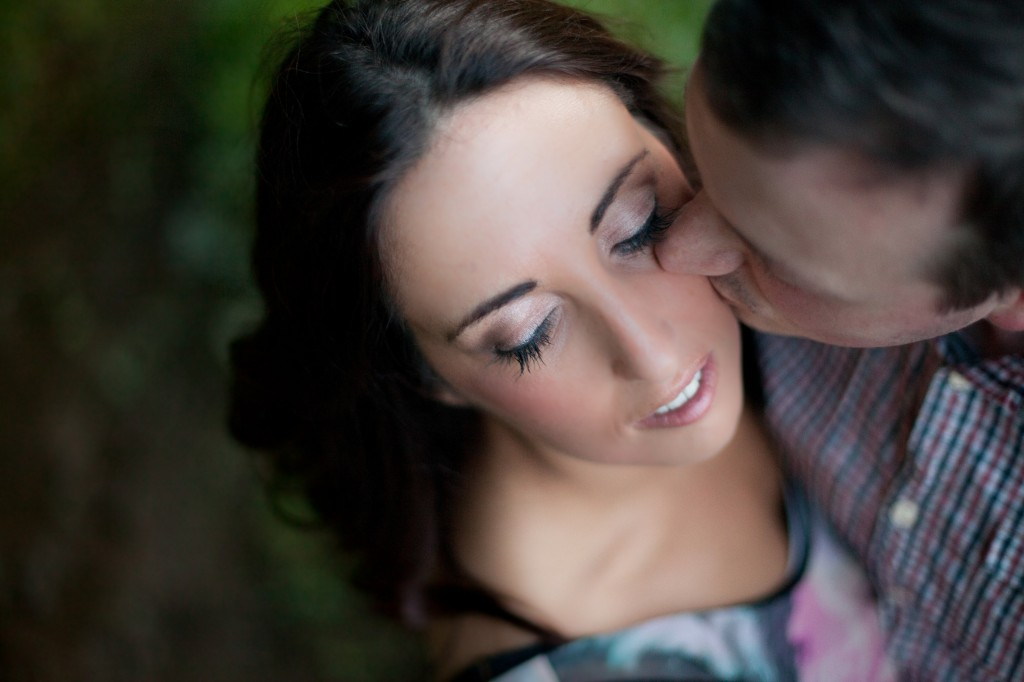 Bride to be Looking Down as Her Man Kisses Her Cheek | Lancaster Pre Wedding Photography