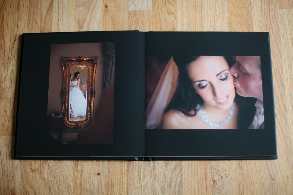 Double page in client sample album Lancashire Wedding photography