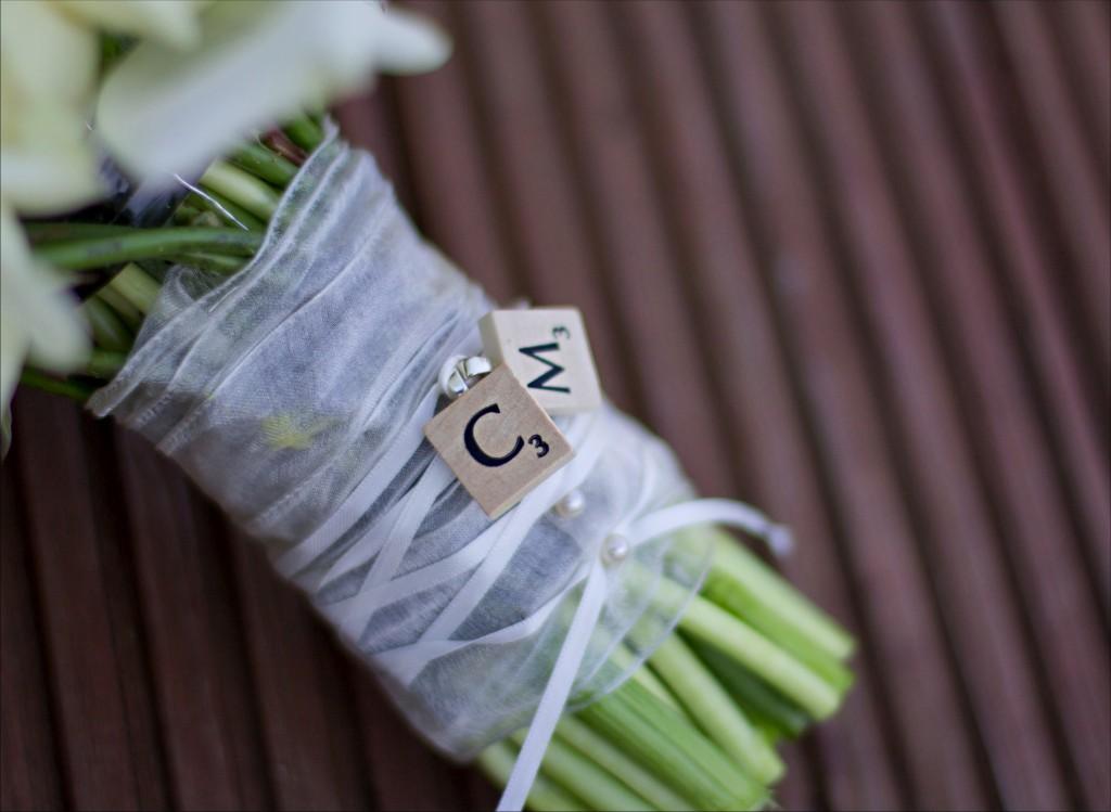 Scrabble Details on Wedding Flowers