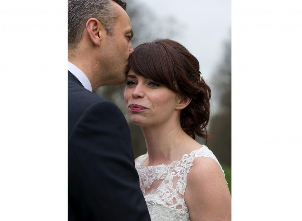 Groom Kisses Bride, Rowton Castle Wedding