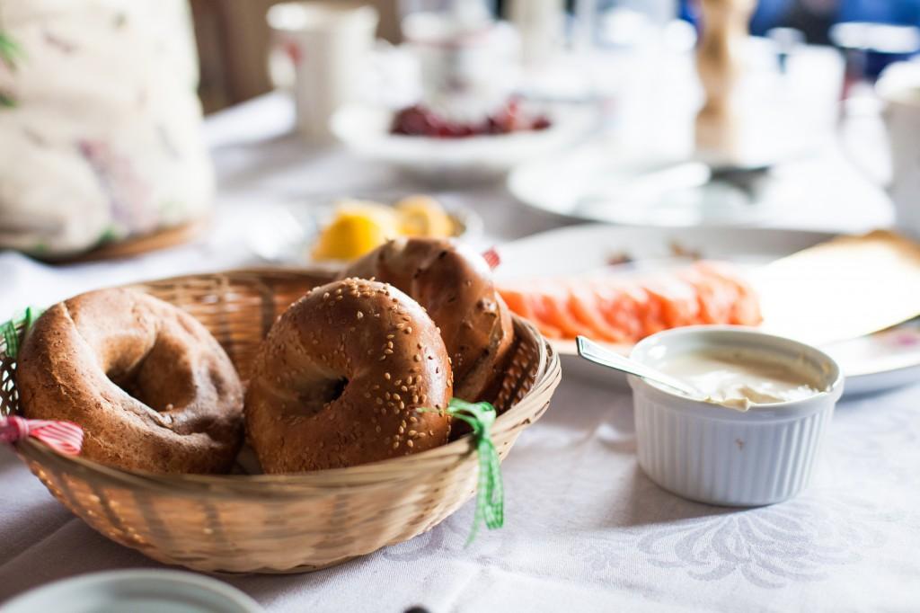 Bagels during bridal preparation breakfast | Beautiful Wedding Photography Cumbria