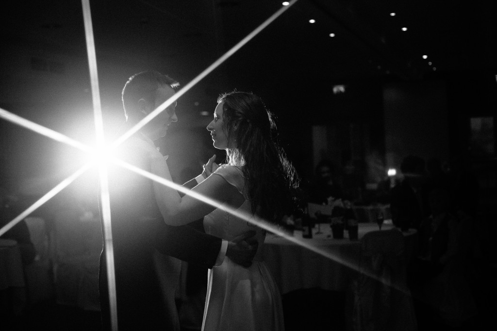 Bride and groom during beautiful first dance