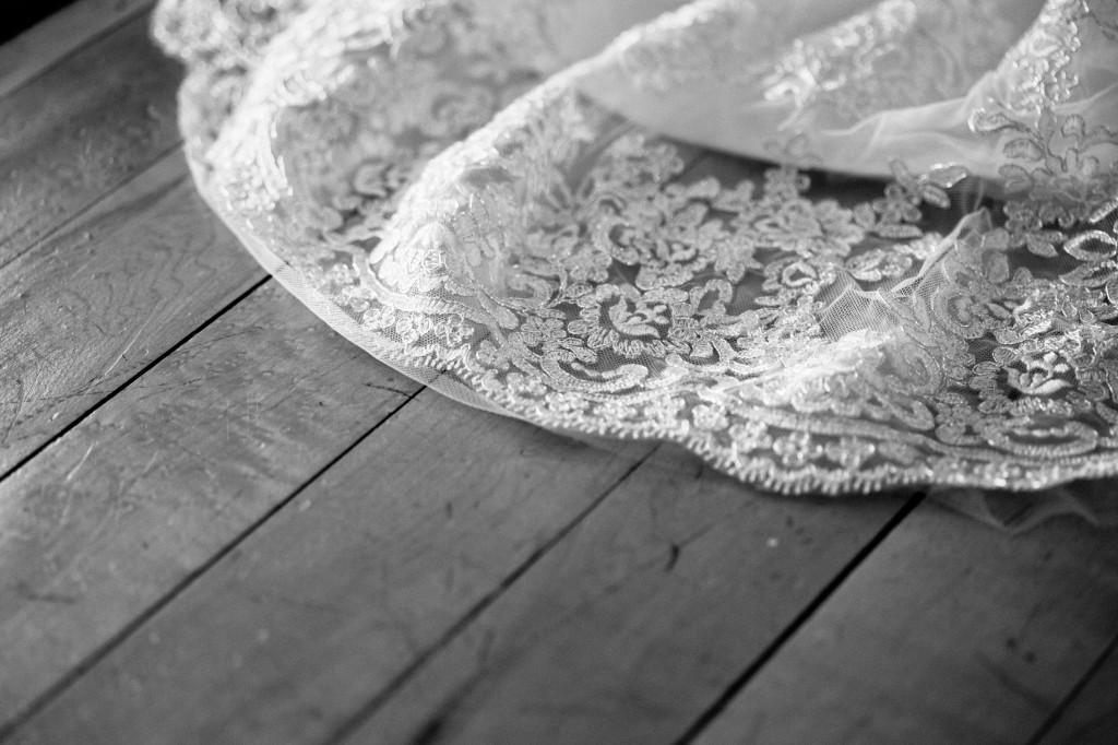 Lace Wedding Dress Detail Shot