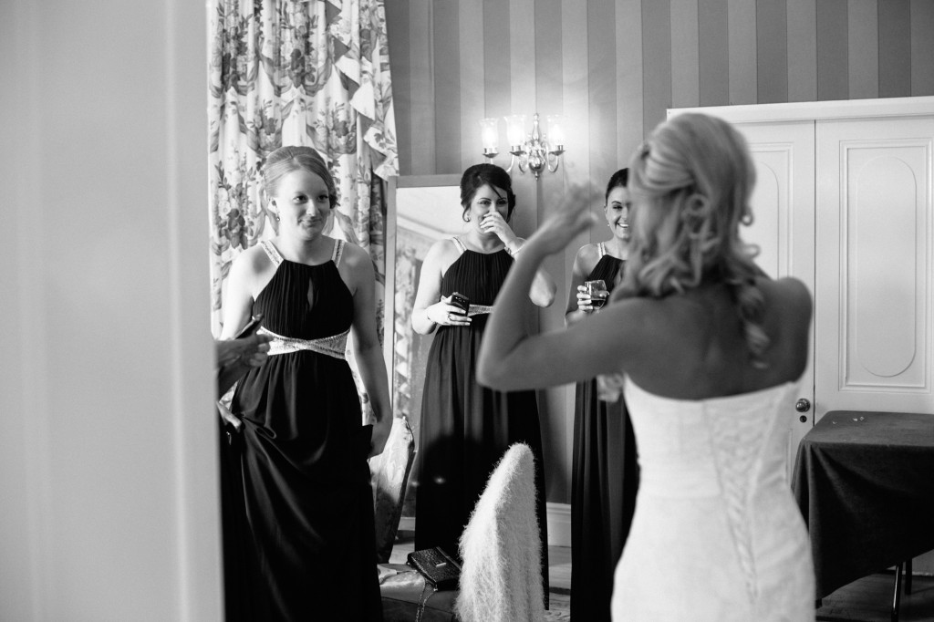 Bride and bridesmaids shed tears