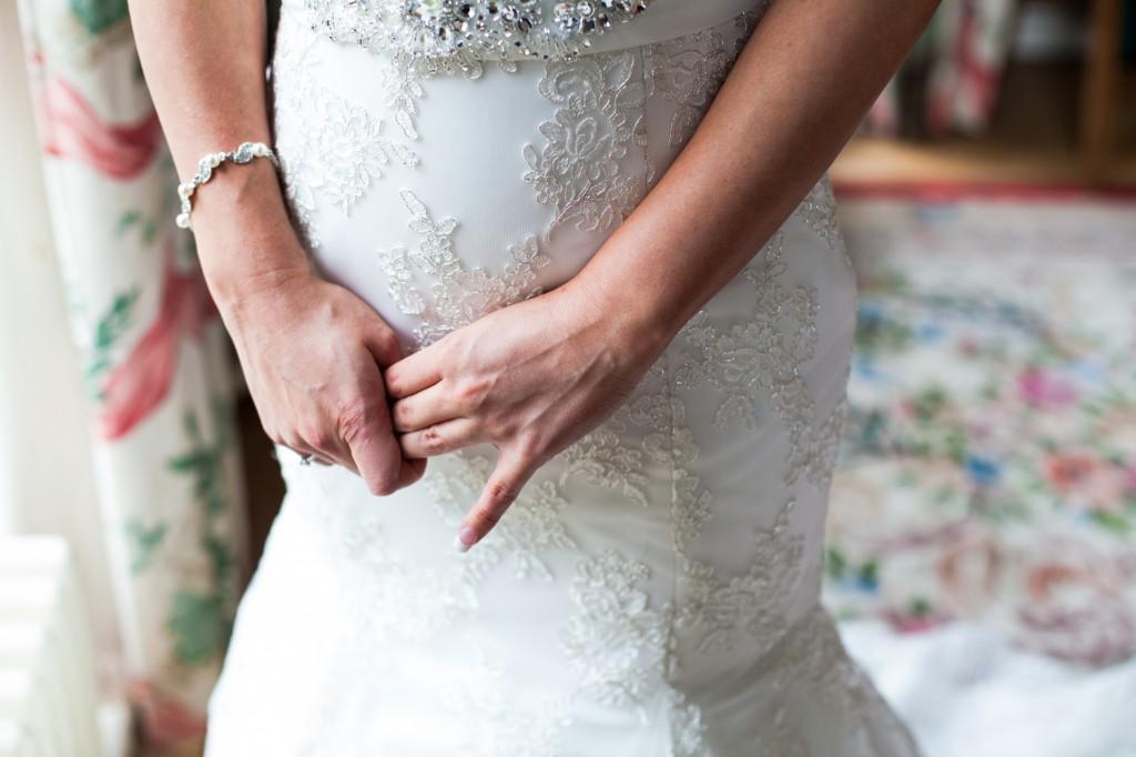 Nervous bride close up of hands