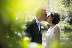 Couple kissing at Linthwaite House Hotel wedding