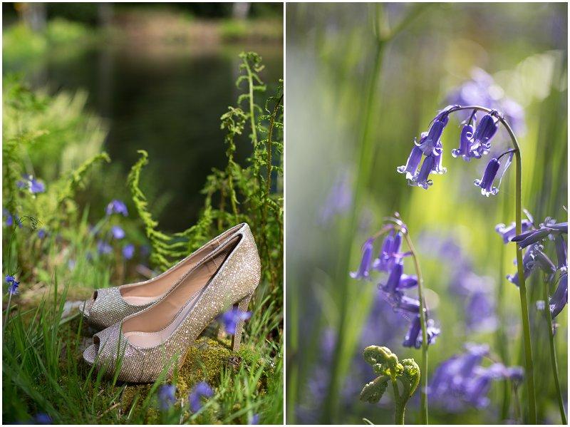 Bluebells and wedding shoes at Linthwaite House Hotel wedding