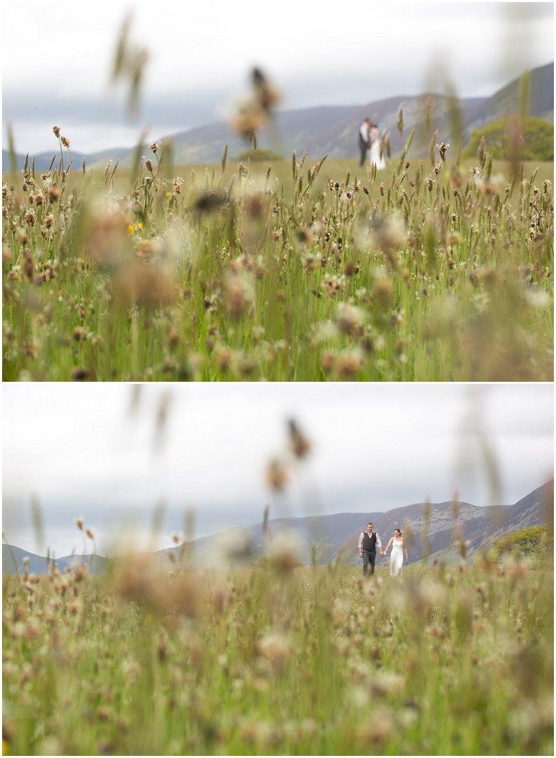 Beautiful bride and groom portraits in field