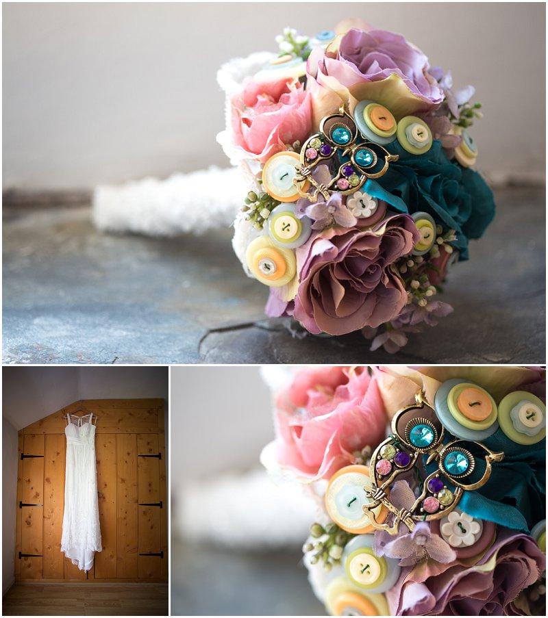 Wedding dress and button bouquet Cumbria Wedding