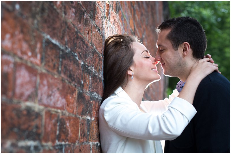 Couple very much in love during engagement photography session
