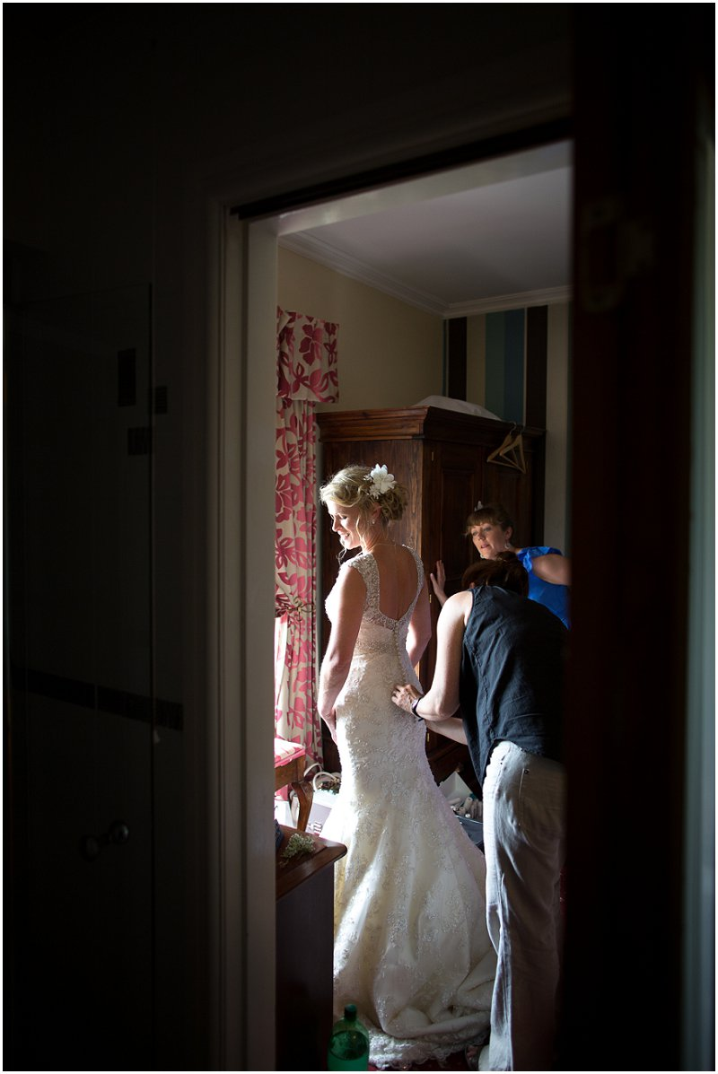Bride getting ready Criccieth Wales Wedding Photojournalism