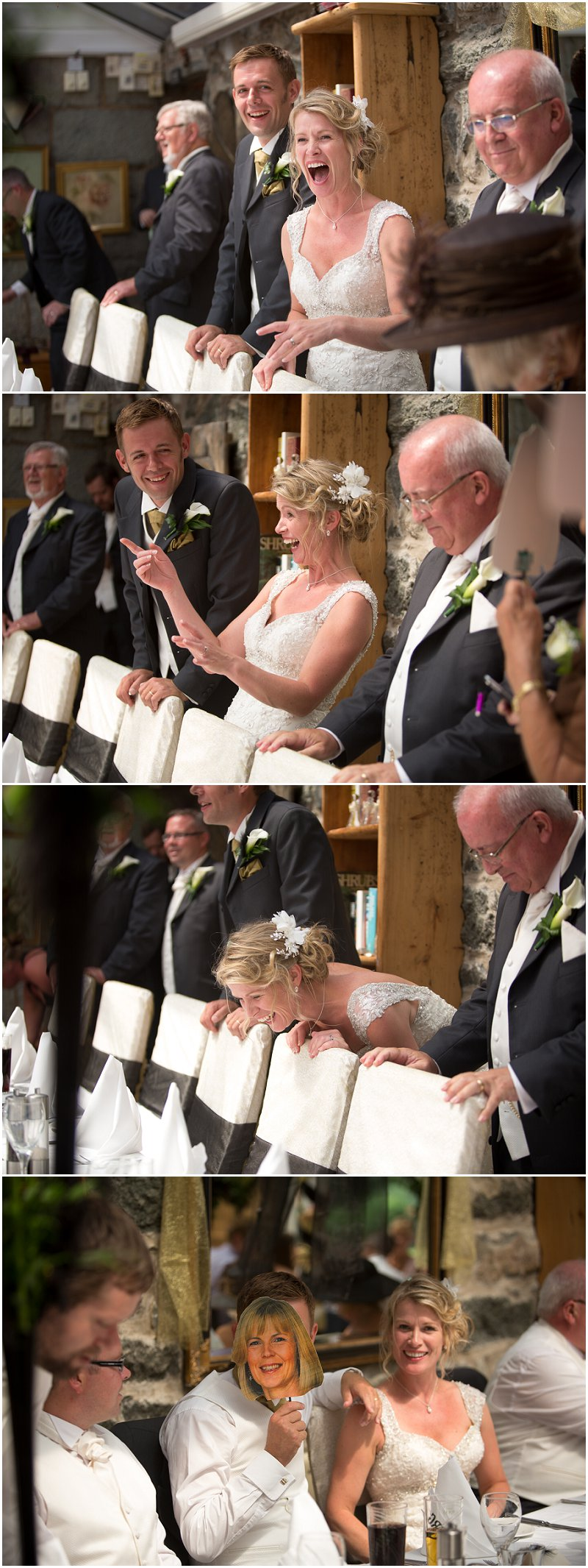Hilarious laughter during speeches at a Wales wedding
