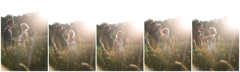Bride dancing in a field at Criccieth, Wales wedding photography