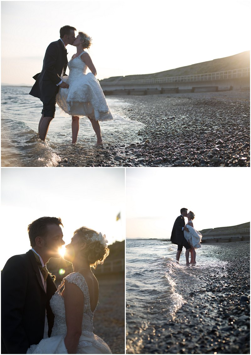 Kissing on the beach | Bride and Groom in Wales