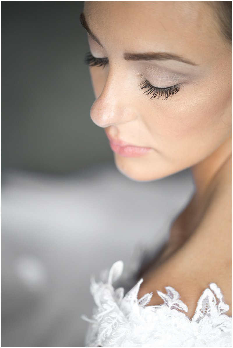 Close up of beautiful bride looking down