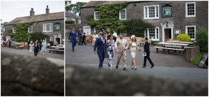 Wedding guests arriving at the church for Clitheroe Wedding