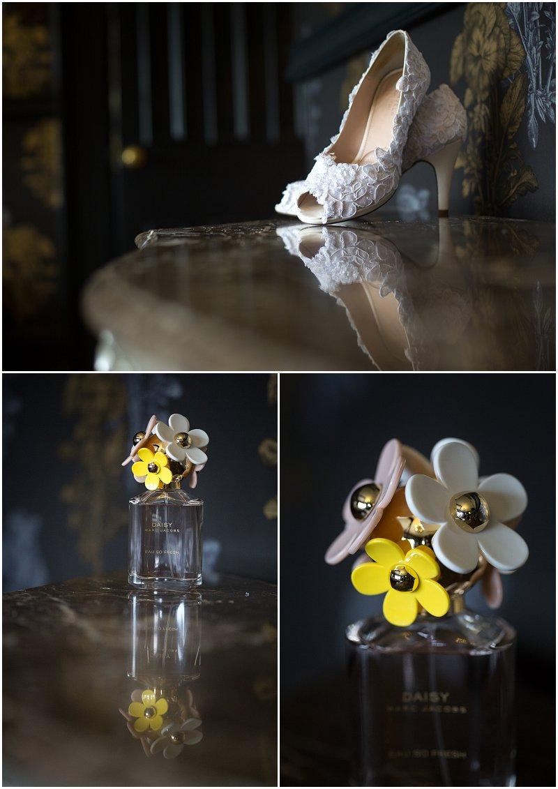 Beautiful Wedding Shoes and Perfume Mitton Hall Wedding