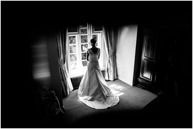 Bride in Window at The Villa, Lancashire Wedding Photography