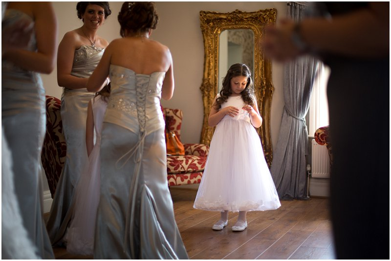 Bridesmaid Getting ready at West Tower Lancashire