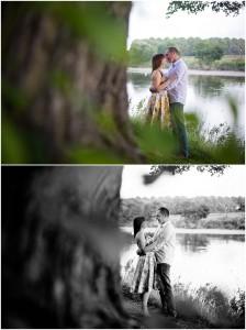 Couple kissing during pre wedding shoot Avenham Park Preston Lancashire