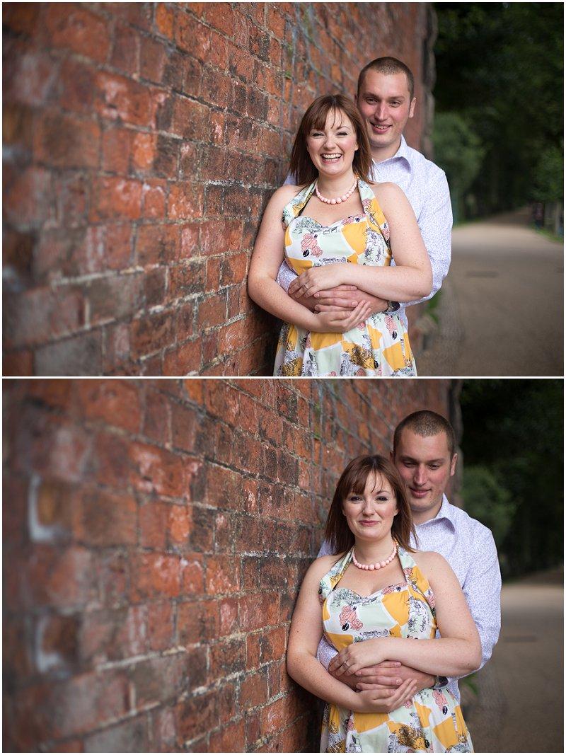 Under the railway bride couple posing