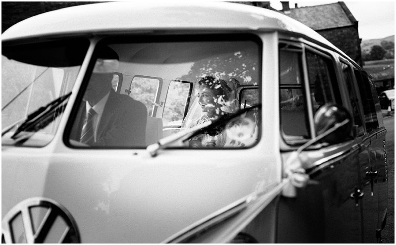 Bride arrives in VW campervan at the church in Lancashire Wedding