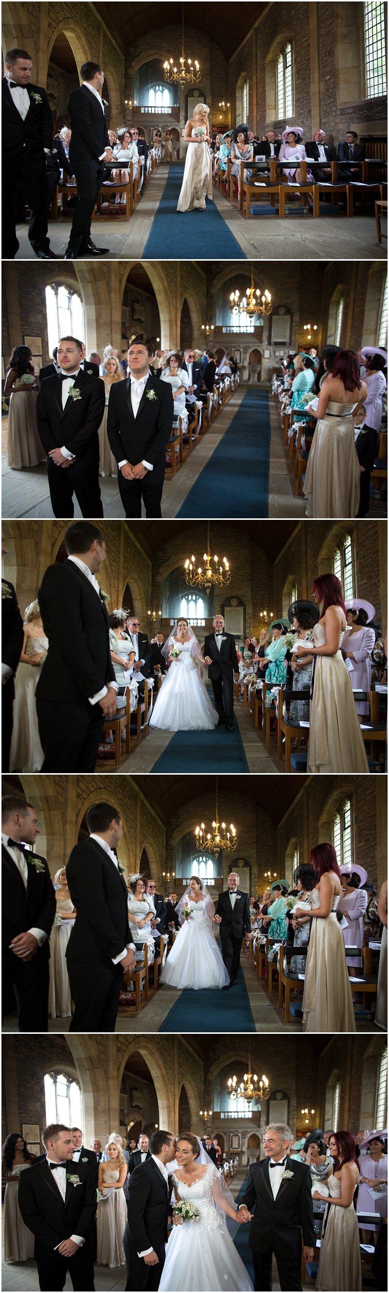 Bride walks down the aisle at Lancashire Wedding