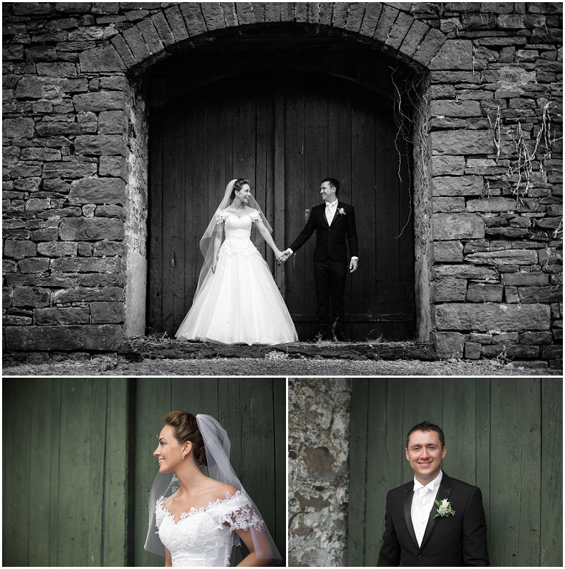 Bride and groom outside barn in Clitheroe Lancashire wedding Photography