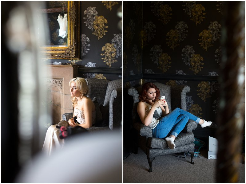 Bridesmaids getting ready and chilling at Mitton Hall Lancashire
