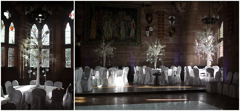 Red Floral Decorations at Peckforton Castle Cheshire