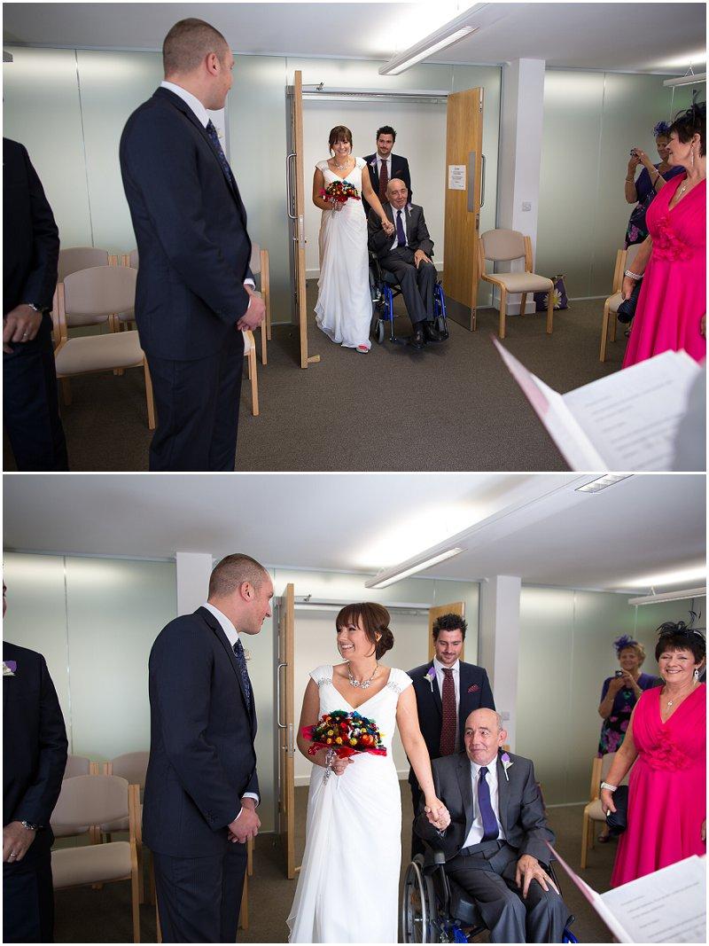 Bride arrives at Skipton Registry Office