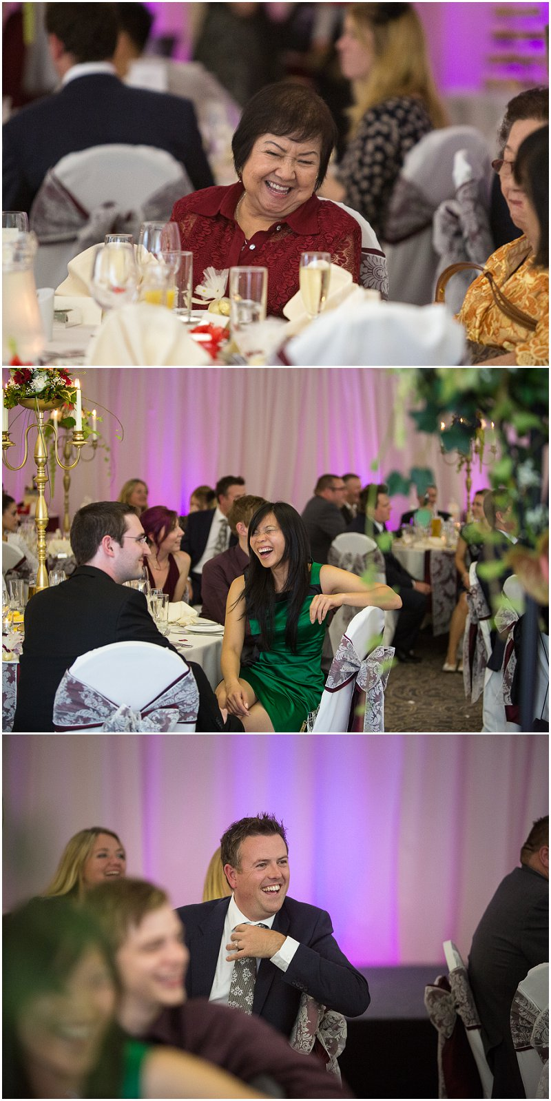 Guests laughing during speeches | Lancashire Wedding Photography