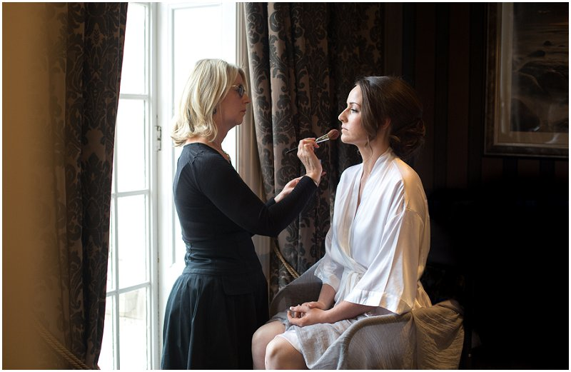 Bride getting ready at Eaves Hall Lancashire wedding photography