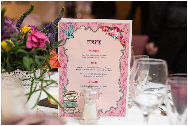 Menu at Wordsworth Hotel Lake District Wedding Photography
