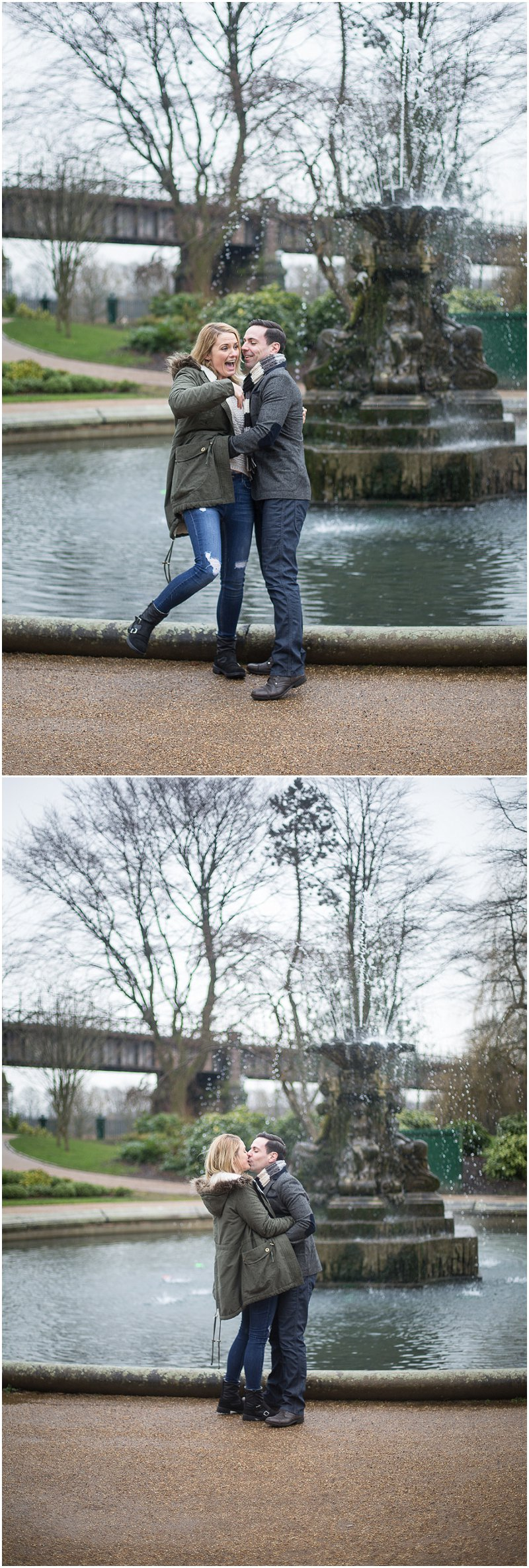 Funny Moment as couple embrace near Fountain, Avenham Park
