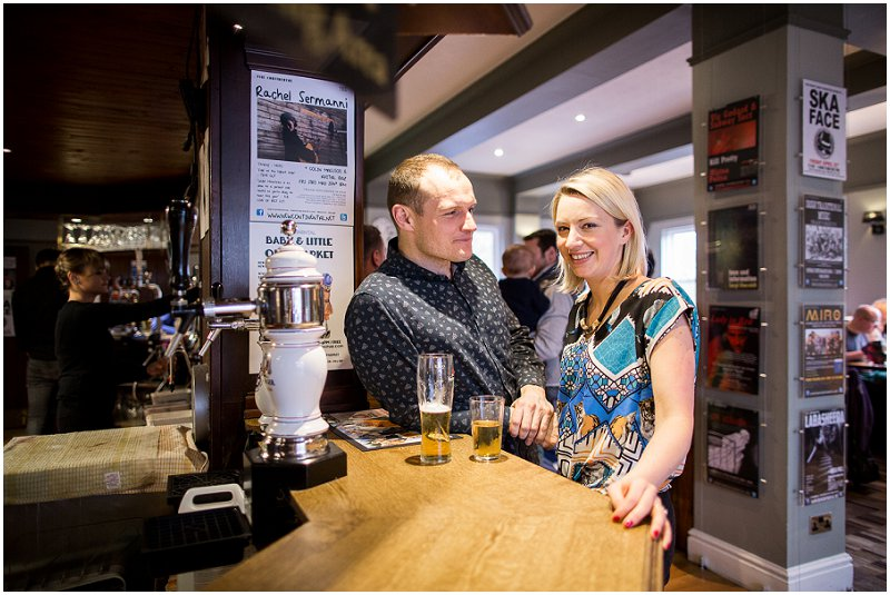 Couple stand at the Bar pre wedding Photography Preston