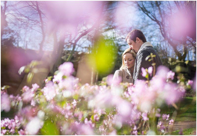 Beautiful couple in flowers pre wedding photography Preston