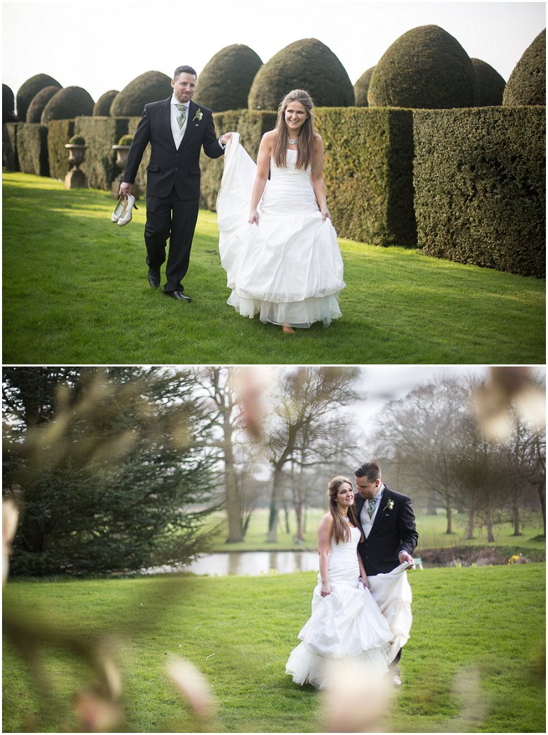 Bride and groom in grounds at Birtsmorton Court Worcestershire Wedding Photographer