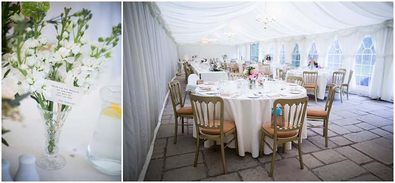 Beautiful room details in Marquis during wedding at Birtsmorton Court