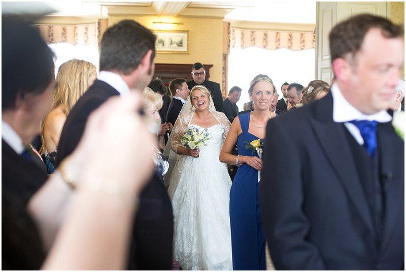 Bride arriving during ceremony in Cumbria