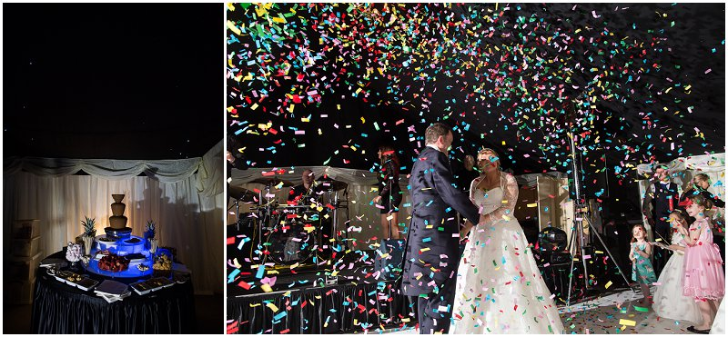 Chocolate Fountain and Confetti Canon at The Inn on the Lake Wedding Photographer