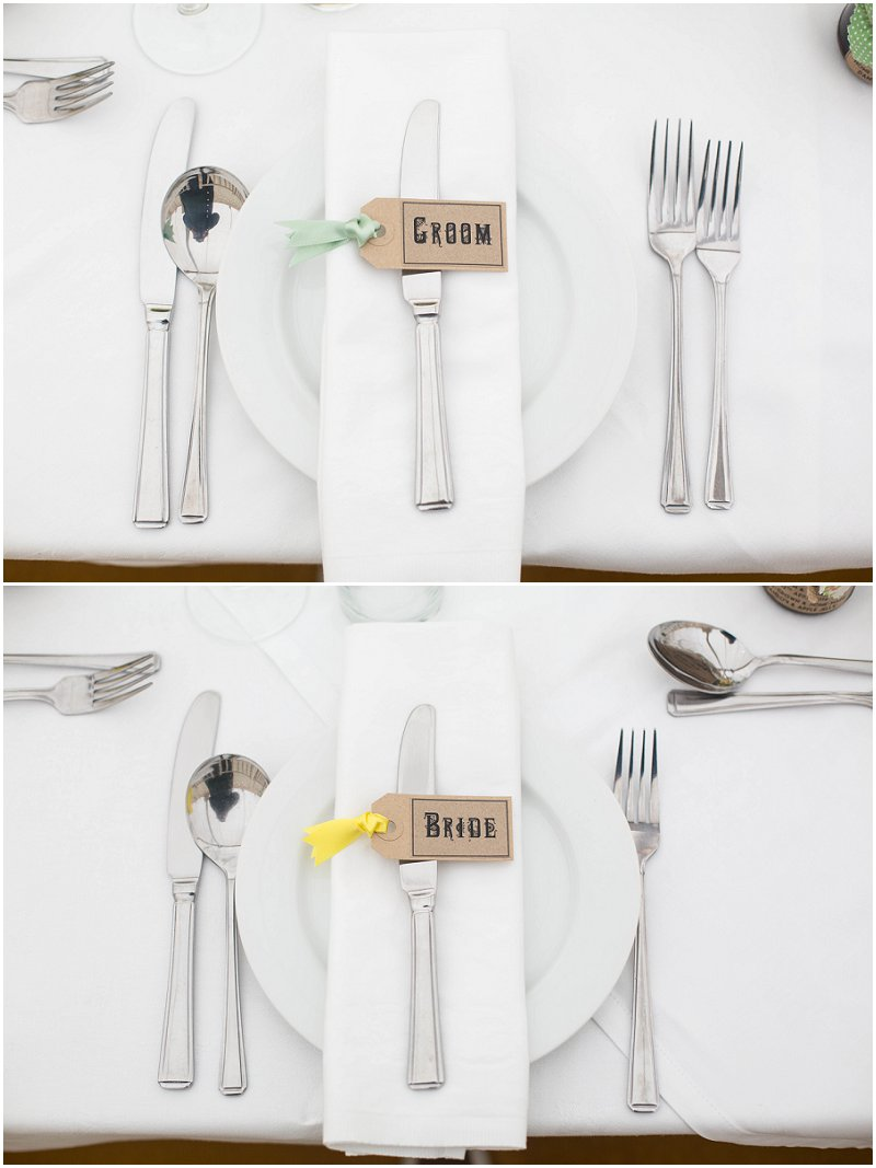 Groom and Bride place settings at Belmount Hall Marquee