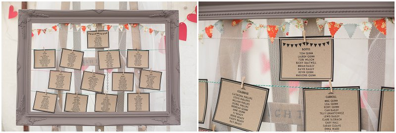 Vintage Seating Plan at Belmount Hall Wedding | Marquee Wedding Photography
