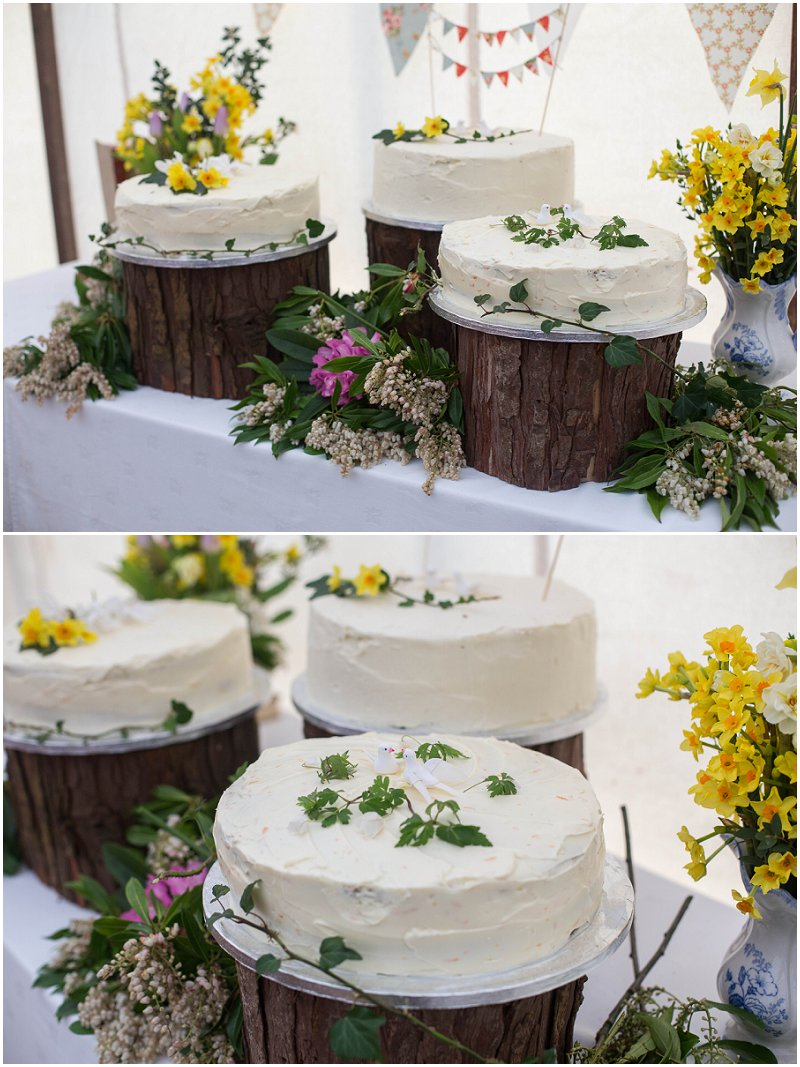 Wedding Cake in Marquee at Belmount Hall Cumbria wedding