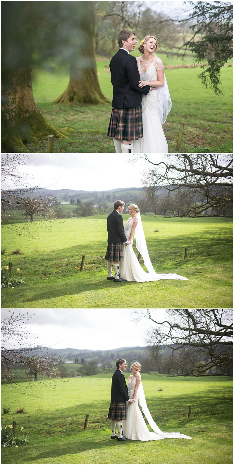 Bride and Groom bask in the sun at Belmount Hall Cumbria