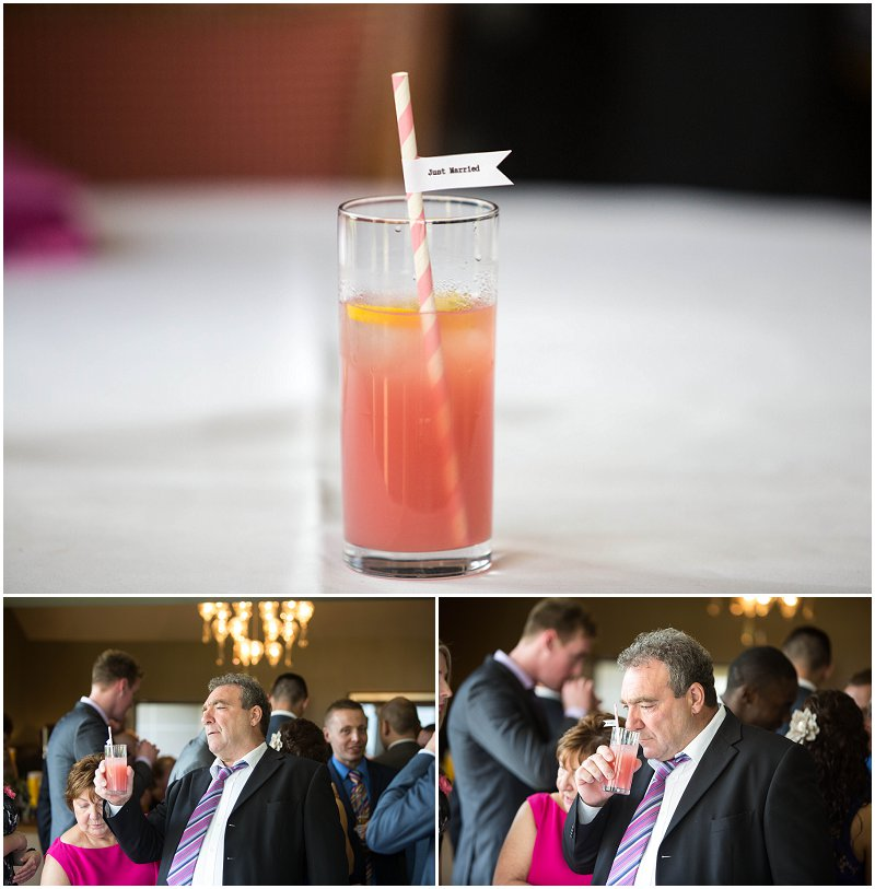 Guest looks at cocktail after ceremony at Stanley House Mellor