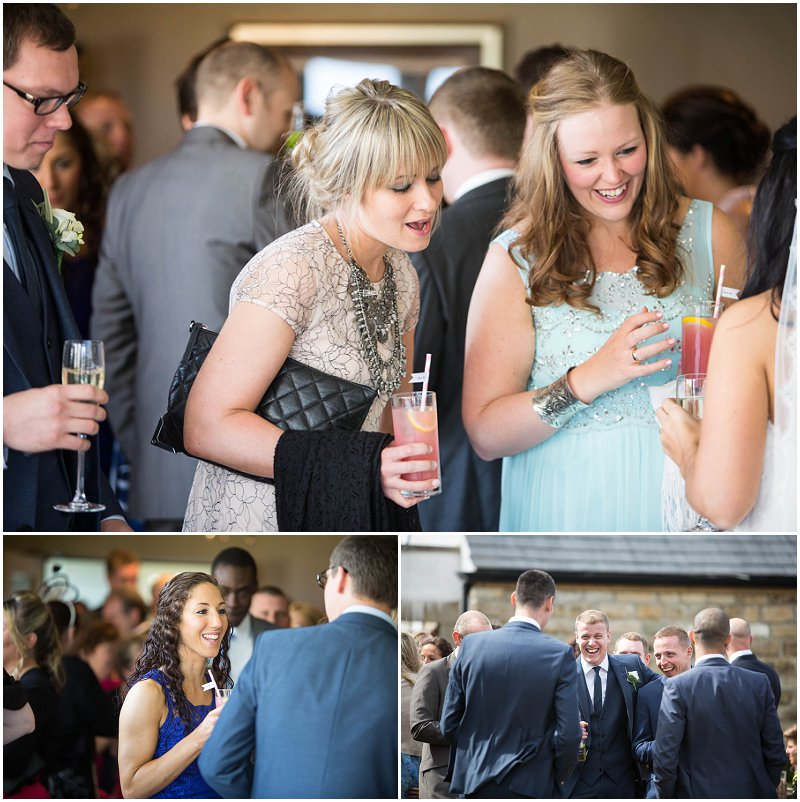 Guests greet bride and groom Stanley House in Mellor, Lancashire