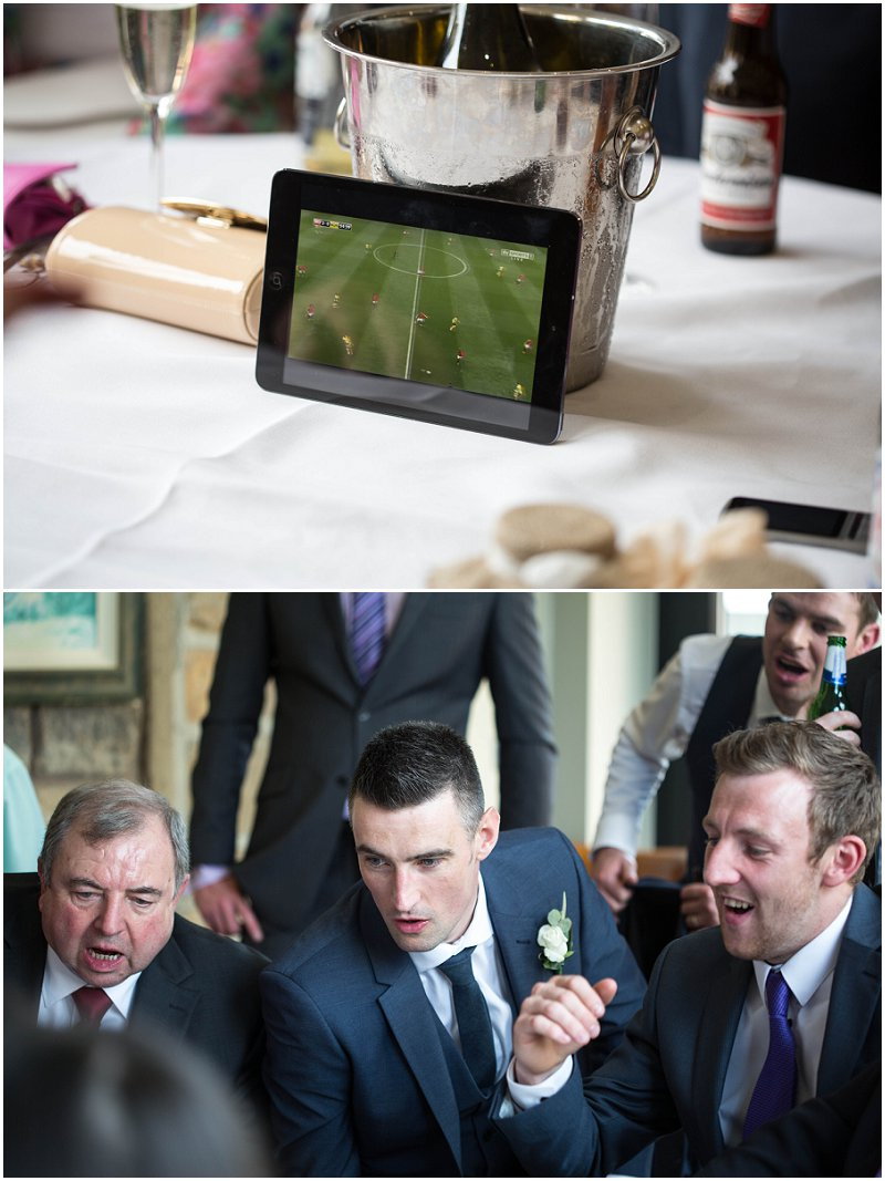 Guests watching football at Stanley House Mellor Wedding