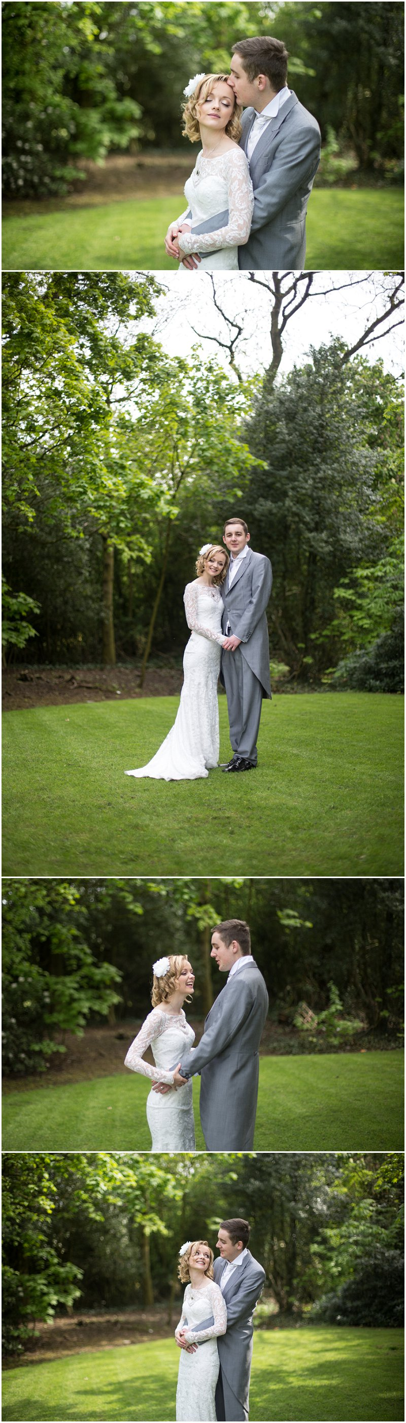 Beautiful bride and groom in gardens at Ashfield House Standish