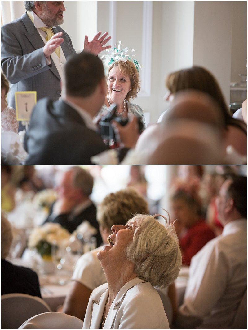 Guests enjoying speeches at Ashfield House Wedding